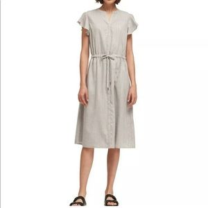 DKNY Shimmer Stripe Flutter Dress MSRP $119 S NWT